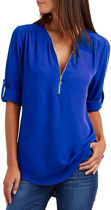 WinCret Blusa Mujer - Cuello en V Cremallera Manga Larga con Puño Camisa de Gasa sólida