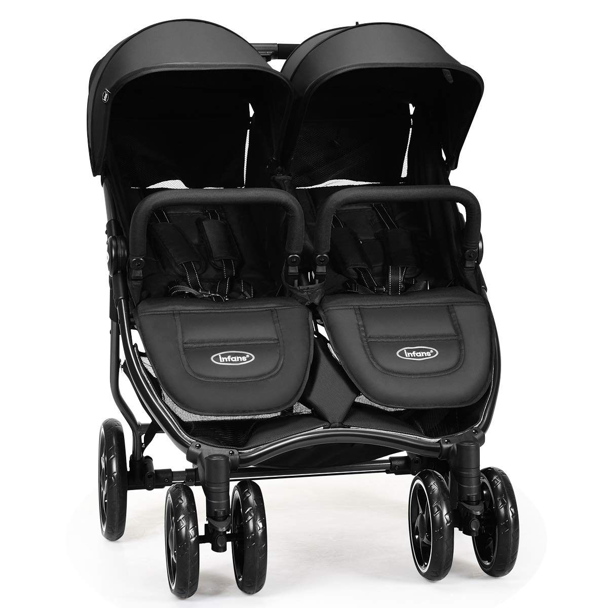 INFANS Double Stroller, Lightweight Easy Folding Duo Baby Stroller with Side by Side Twin Seats, Night Reflective 5-Point Safety Harness, Suitable for 6 Months to 3 Years Black