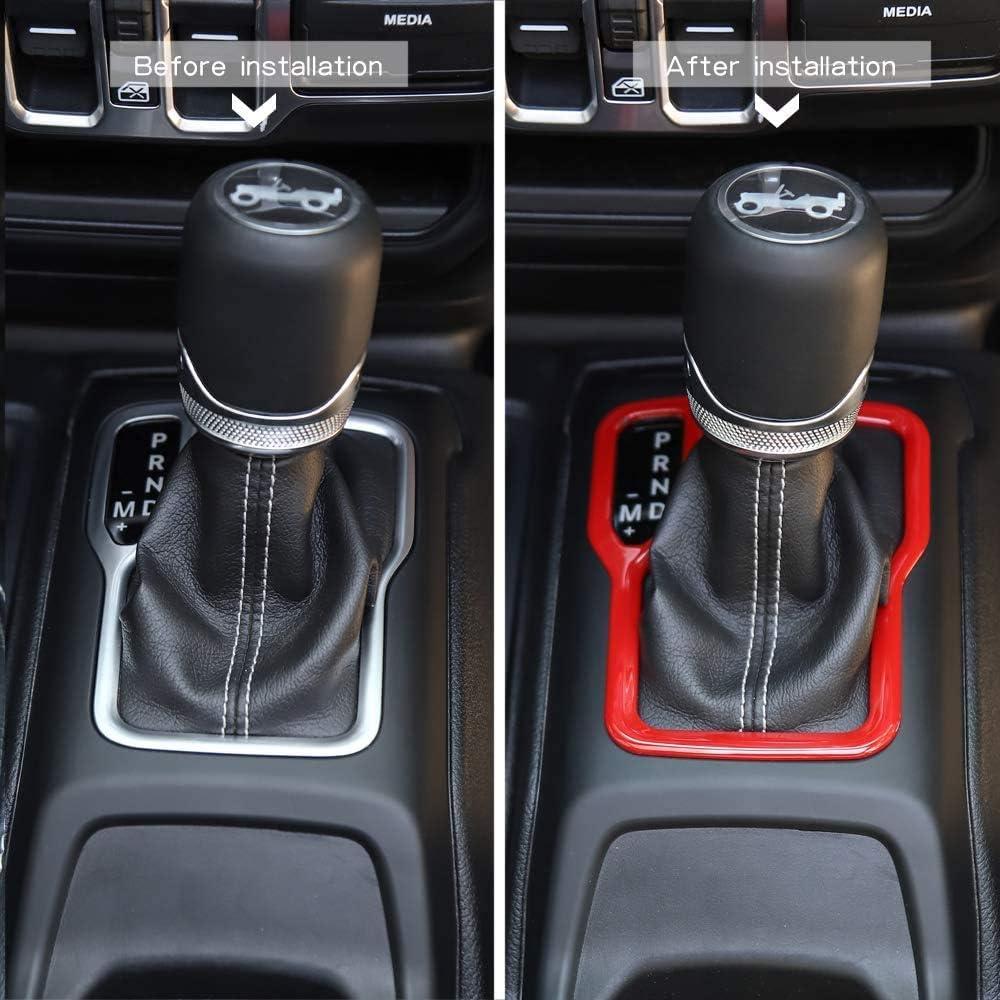 L/&U Panel Shift Engranaje Interior del Coche Cubierta decoraci/ón de Montaje para 2018-2020 Jeep Wrangler JL JLU,Rojo