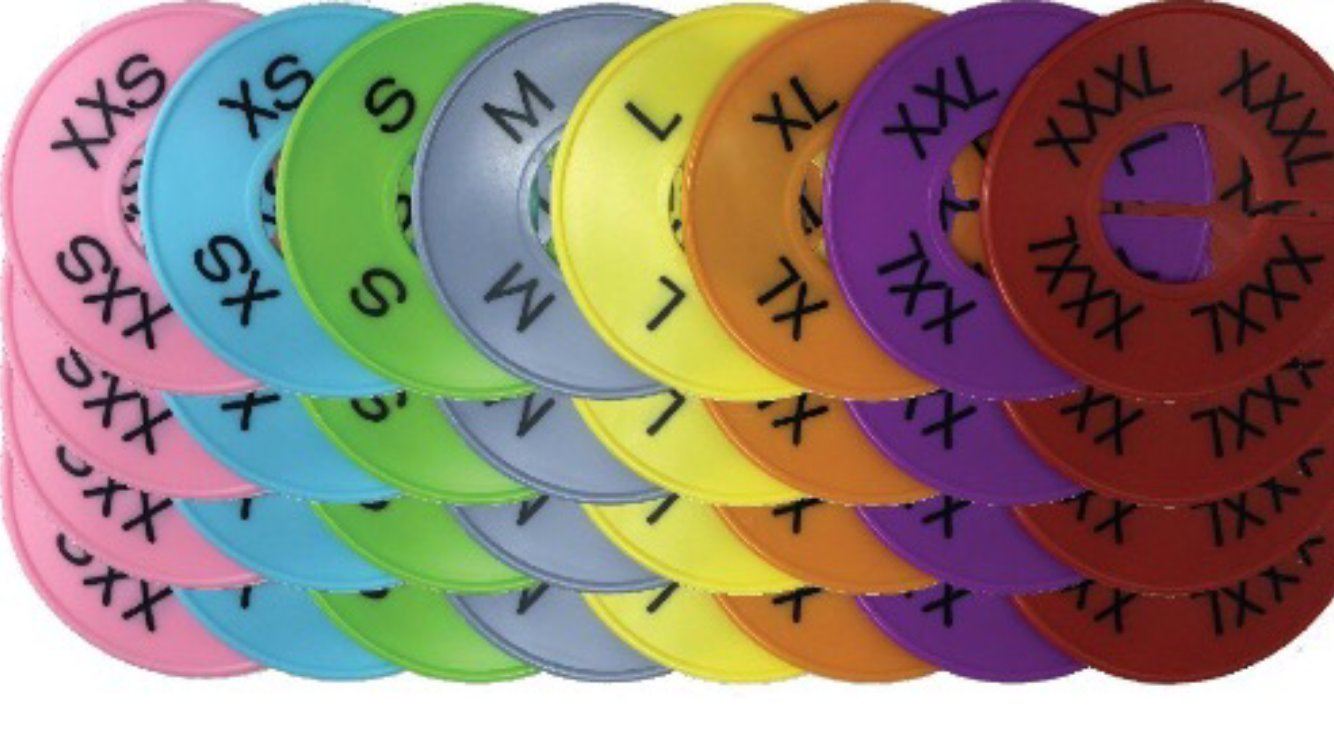 Number Notions Size Tags for Clothes Organization | Round | 32 Pack (Add On Pack: Size Tags ONLY)