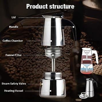 Zeeanker Cafetera italiana,Coffee machine,Cafetera espressos en Acero inoxidable,Conveniente para la cocina de inducción,Cafetera Moka Clásica,Perfecta para Uso Doméstico y en la Oficina (300ML): Amazon.es: Hogar