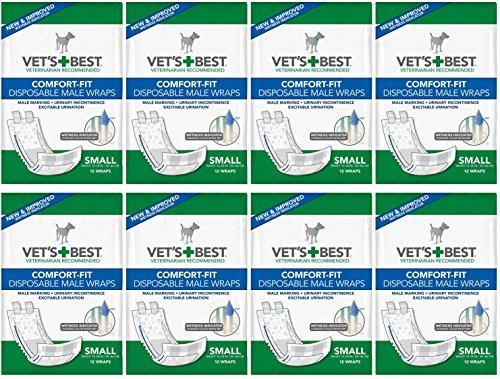 Vet's Best Male Wraps for Dogs, Comfort-Fit Disposable, Small, 12 Count, 8 Pack by Vet's Best