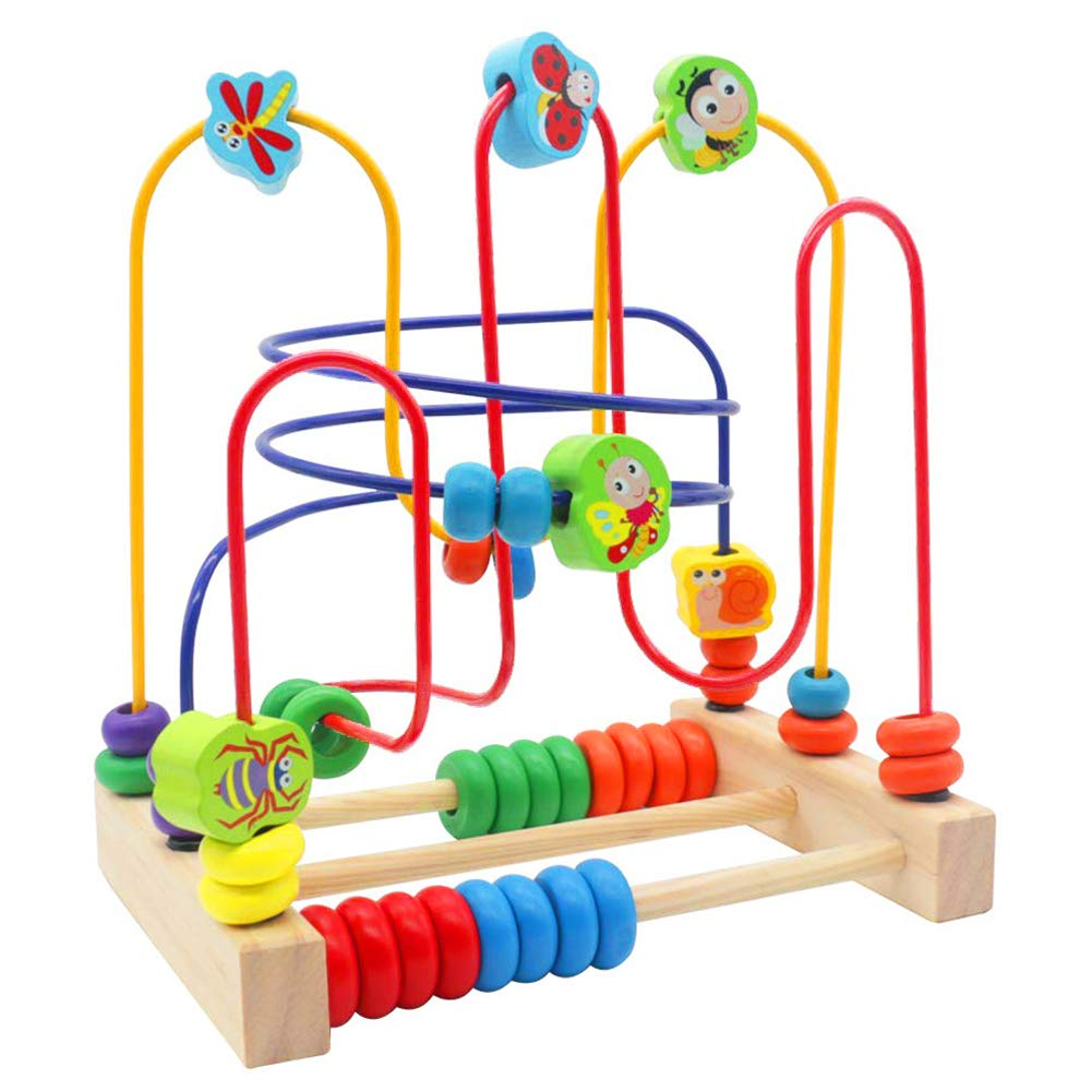 Bead Maze for Babies Wooden Wire Beads Toy Early Learning Montessory Toys Gift Ideas for Kids 3 Year Old