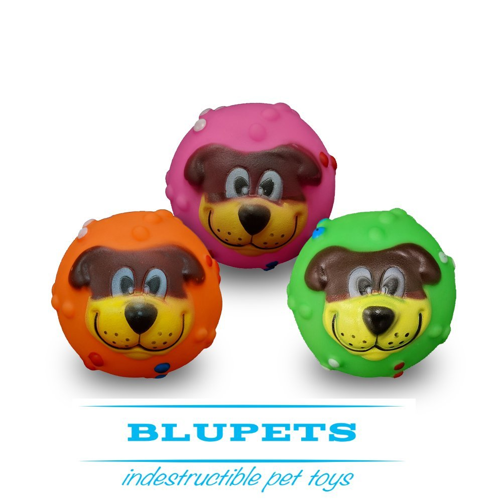 BluPets Indestructible Pet Toy Balls for Dogs Durable Playing Balls - Pack of 3 - Food Grade Non Toxic Rubber Dog Chewing Training Balls for Small, Medium, Large Dogs Puppies