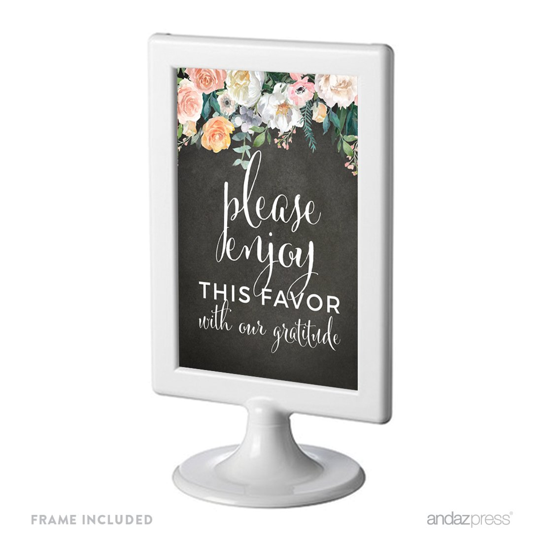 1-Pack 8.5x11-inch Andaz Press Peach Chalkboard Floral Garden Party Wedding Collection Reserved Party Signs