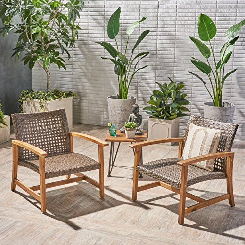 Great Deal Furniture Viola Outdoor Wood and Wicker Club Chairs (Set of 2), Teak Finish and Mixed Mocha
