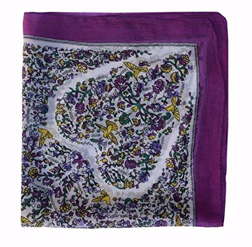 (Paisley Silk Square Scarf: Purple Yellow White)