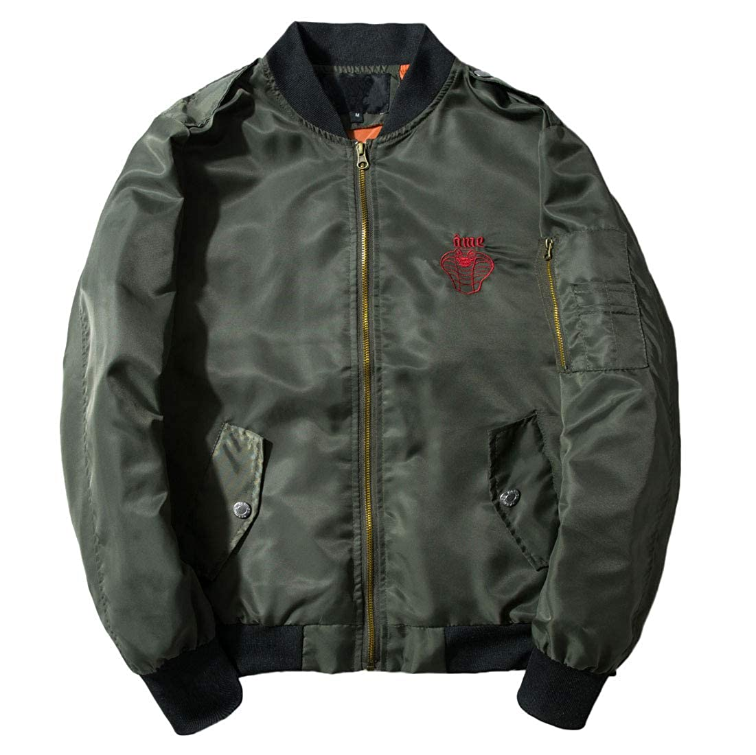 49a8cf068 Chartou Men's Classic Snake-Embroidery Lightweight Flight Baseball Jacket  Windbreaker