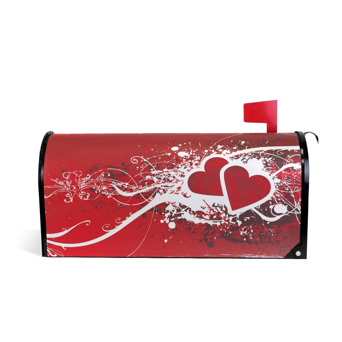WOOR Red Heart Symbole of Love Pink Happy Valentines Day Bling Light Hearts Magnetic Mailbox Cover MailWraps Garden Yard Home Decor for Outside Oversized-25.5 x20.8