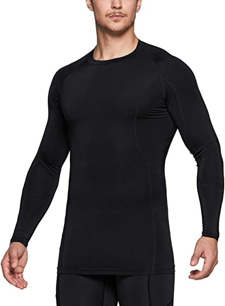 Men Compression Shirts Sport Tights Workout Fitness Running Shirt Long Sleeve Shirt Baselayer Cool Dry Underlayer Top
