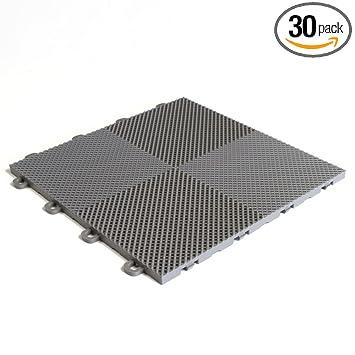 BlockTile B2US4630 Deck And Patio Flooring Interlocking Tiles Perforated  Pack, Gray, 30 Pack