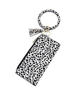 MEIYIN Leopard Leather Wallet Circle Keyring Wristlet Clutch Zipper Clutch Purses with Tassel for Women