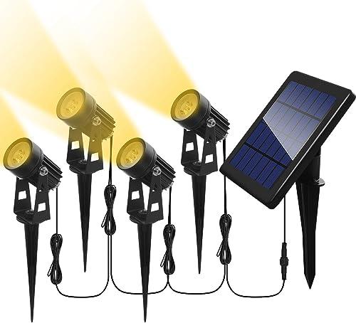 Otdair Solar Spotlights Outdoor, Led Solar Powered Landscape Lights 4 in 1 Bright Warm White Lights IP65 Waterproof Adjustable Head Light for Path Garden Yard Patio Lawn 4 Packs