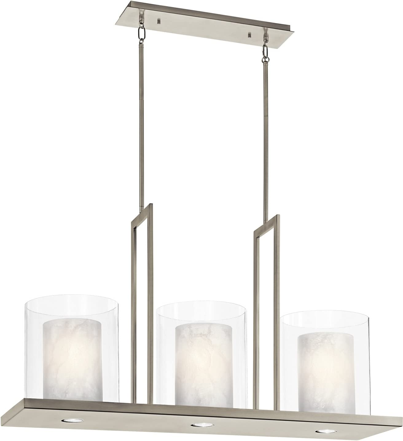 Kichler 42548CLP Triad Chandelier, 3 Light Incandescent 300 Total Watts, Classic Pewter