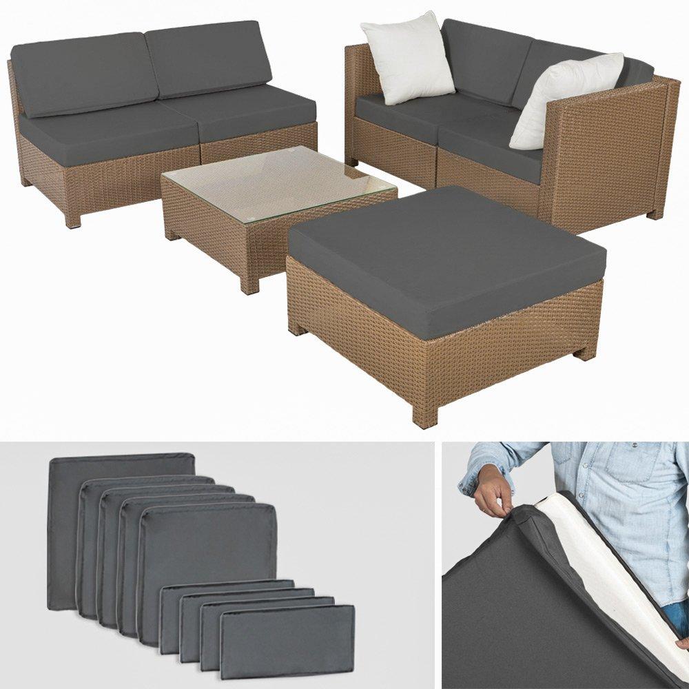 Amazon.de: TecTake Hochwertige Luxus Lounge mit 2 Bezugssets Poly ...
