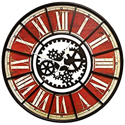 HDC International 05-0035 Clock, Round Red Gears