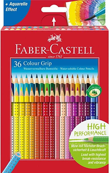 Faber-Castell 112442 - Estuche de cartón con 36 ecolápices Grip de colores, multicolor: Amazon.es: Oficina y papelería
