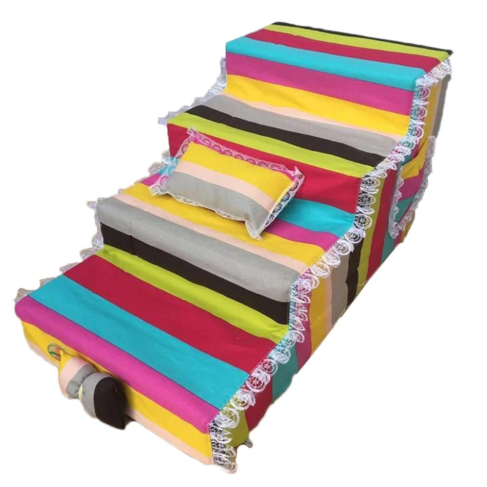 LXLA 4-Step Pet Stairs, Dogs Ladder for Small to Medium Pet, for Living Room and Bedroom 80×40×40cm