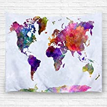 """Pdhome World Map Pattern Wall Tapestry, Bedroom Living Room Dorm Wall Decor(60""""H x 80""""W,Blue)"""