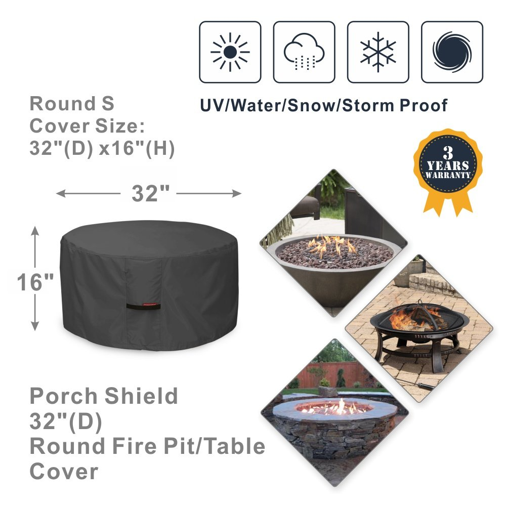 Porch Shield 600D Heavy Duty Patio Round Fire Pit/Table/Bowl Cover 32 inch, 100% Waterproof, Black by Porch Shield (Image #2)