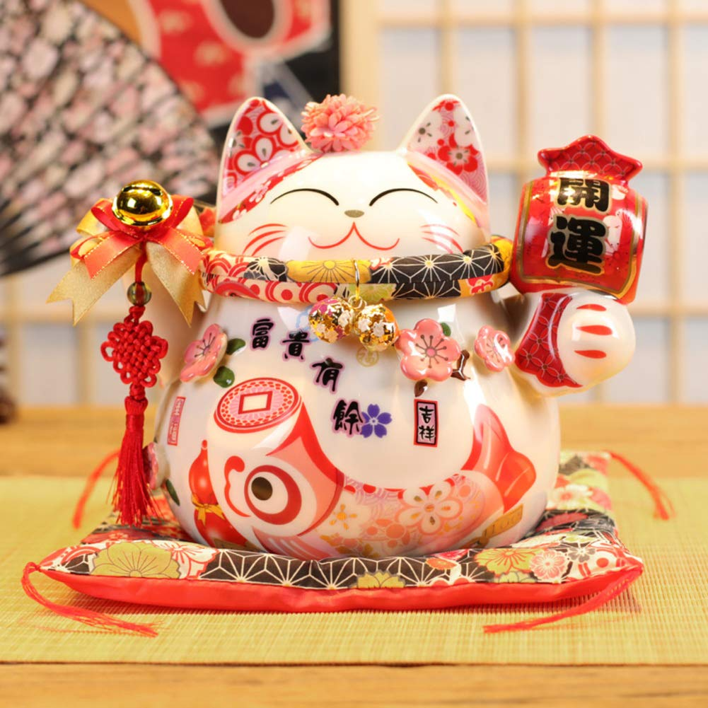 GE&YOBBY Ceramic Piggy Bank,Lucky Cat Maneki Neko Money Box with Small Flower On The Head Japanese Cartoon Saving Box with Seat Cushion for Home Restaurant Gift-c 24.5x17x20cm(10x7x8inch)