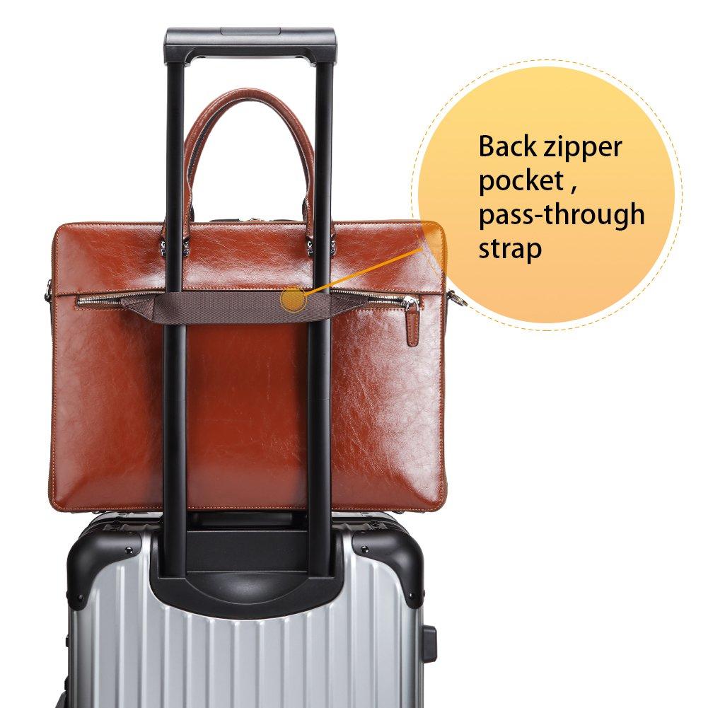 BOSTANTEN Leather Briefcase Shoulder 15.6''Laptop Business Vintage Slim Messenger Bags for Men & Women by BOSTANTEN (Image #5)
