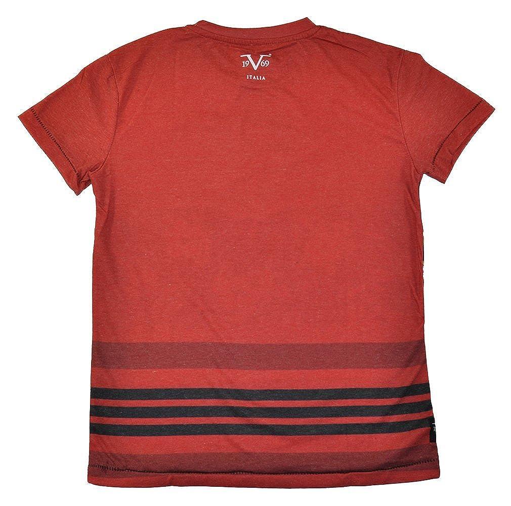 Versace 19-69 Abbigliamento Sportivo SRL Big Boys S//S Hawaiian Print Design Top Red VBT658-6716