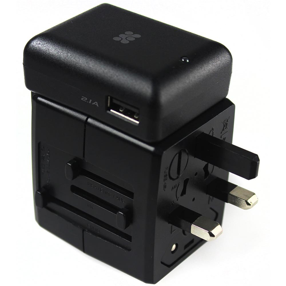 Promate Travel Conversion Adapter UK/EU/US/AU Plug Compatible with 2 USB Ports Travelmate. Mobi