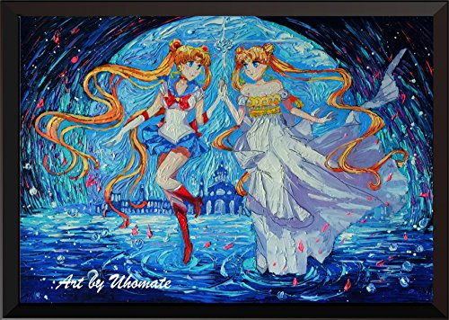 Uhomate Pretty Soldier Sailor Moon Magical Girl Vincent Van Gogh Starry Night Posters Home Canvas Wall Art Print Anniversary Gifts Baby Gift Nursery Decor Living Room Wall Decor A094 (8X10)