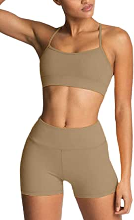 Women's Workout Sets 2 Piece Yoga Outfits High Waisted Yoga Leggings Shorts and Sports Bra Gym Clothes Tracksuit