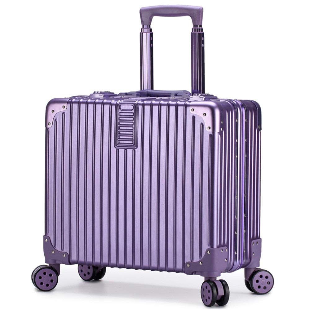 スーツケース トロリー箱のアルミニウム学生のスーツケースの人および女性16/18インチパスワード搭乗荷物箱 大容量旅行スーツケース (Color : Purple, Size : 16 inch) B07RVKMMFQ Purple 16 inch