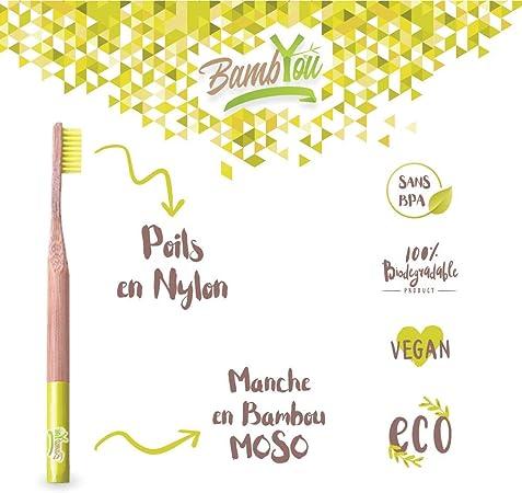 Cepillo de dientes de bambú de bambú - Pack de 4 - Natural ...