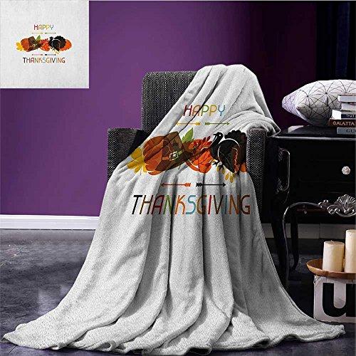 Turkey summer blanket Bird Pumpkin Traveller`s Hat Silhouette with Celebratory Thanksgiving Illustration Flannel Multicolor size:59