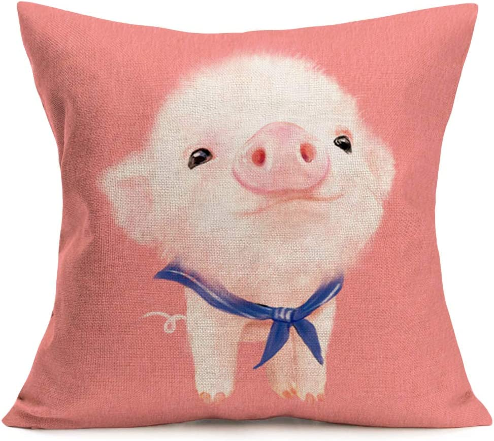 Asamour Adorable Animal Throw Pillow Case Watercolor Lovely Pig Wearing a Blue Shawl Portrait Design Cotton Linen Cushion Cover Home Sofa Decor Pillowcase 18inches,Pink (Pig)