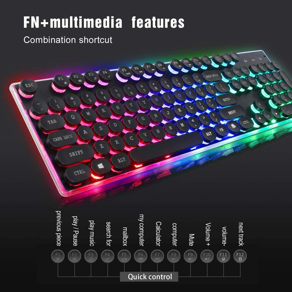 LFJKS Keyboard Gaming Keyboard 3 Color Backlit English Keyboard Punk Key Cap Retro Style Ultra-Slim All-Metal USB Wired Plug /& Play Gaming Keyboard