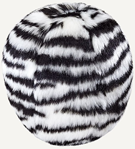 Fluff and Tuff Plush Toy Balls for Dogs, Medium 5.5-Inch (Zebra Ball)