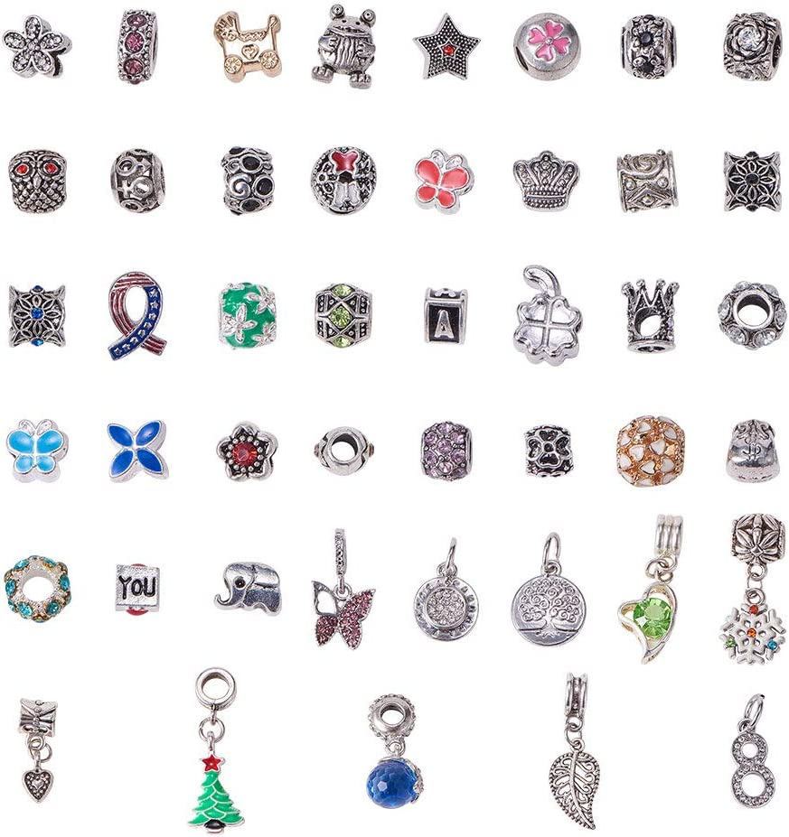 NBEADS Esmalte para Collar con Colgante de aleación de Diamantes de imitación Spacer Beads Charms Pulseras Brazalete Cadena de Serpiente Joyas Estilo Pandora