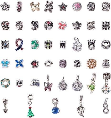 nbeads 50 Pièces Perles D'Espacement en Alliage et Émail avec Strass Style  Pandora pour Collier À Pendentif, Bracelet, Chaîne Serpent