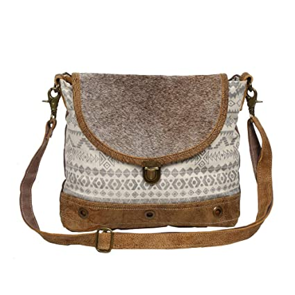 91bddfd1b4cf Amazon.com: Myra Bag Yoruban Upcycled Canvas & Cowhide Leather ...