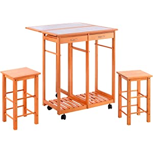 Costzon Kitchen Trolley Island Cart Dining Storage Tile Top With Drawers 2 Stools