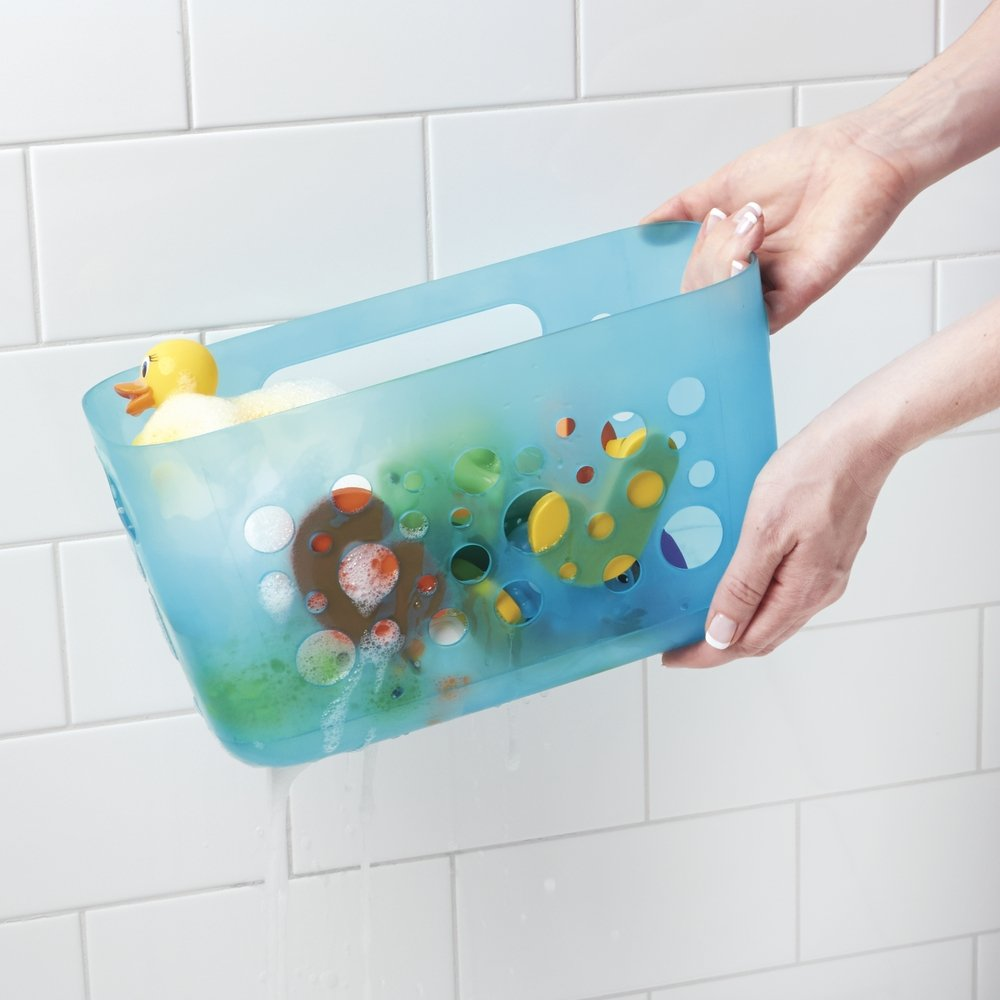 Amazon.com: mDesign Kids/Baby Bathroom Shower Suction Caddy Basket ...