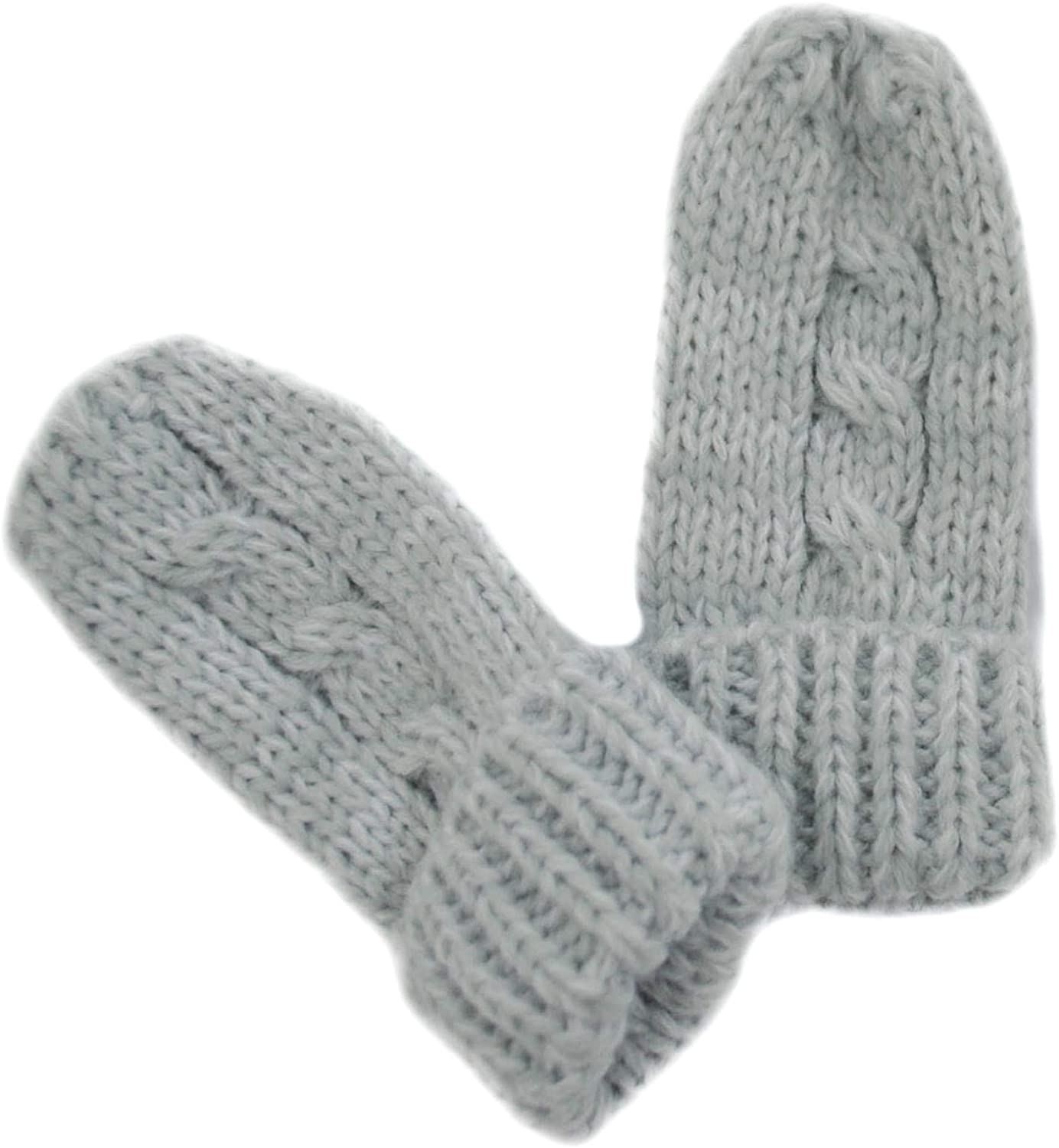 Newborn Grey Baby Mittens Winter Warm Knitted Mitts Boys Ribbed Gloves Girls Cable Knit Acrylic Mittens Colour Size 12 Months