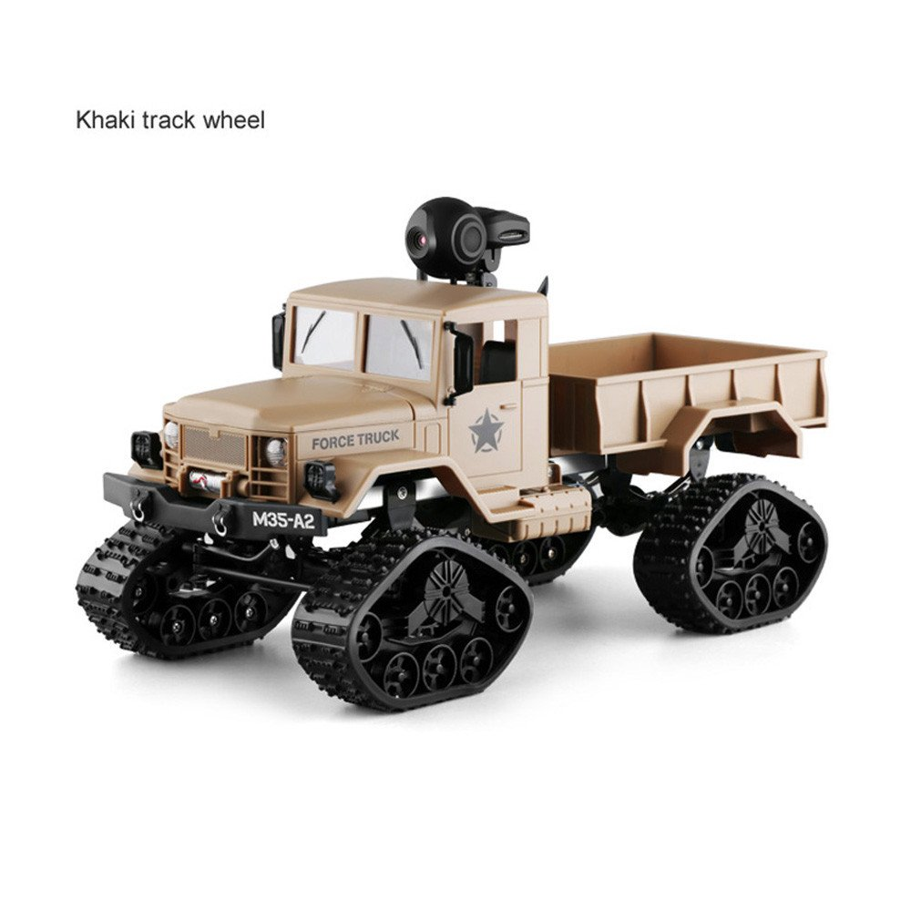 RC Military Truck with WIFI 2.0MP Camera 4WD 1:16 Army Crawler Off-Road Car APP Control 2.4Ghz RTR Toy Electric Drift Car RC Racing Car Toy for Kids Adults Race Buggy Birthday Gift