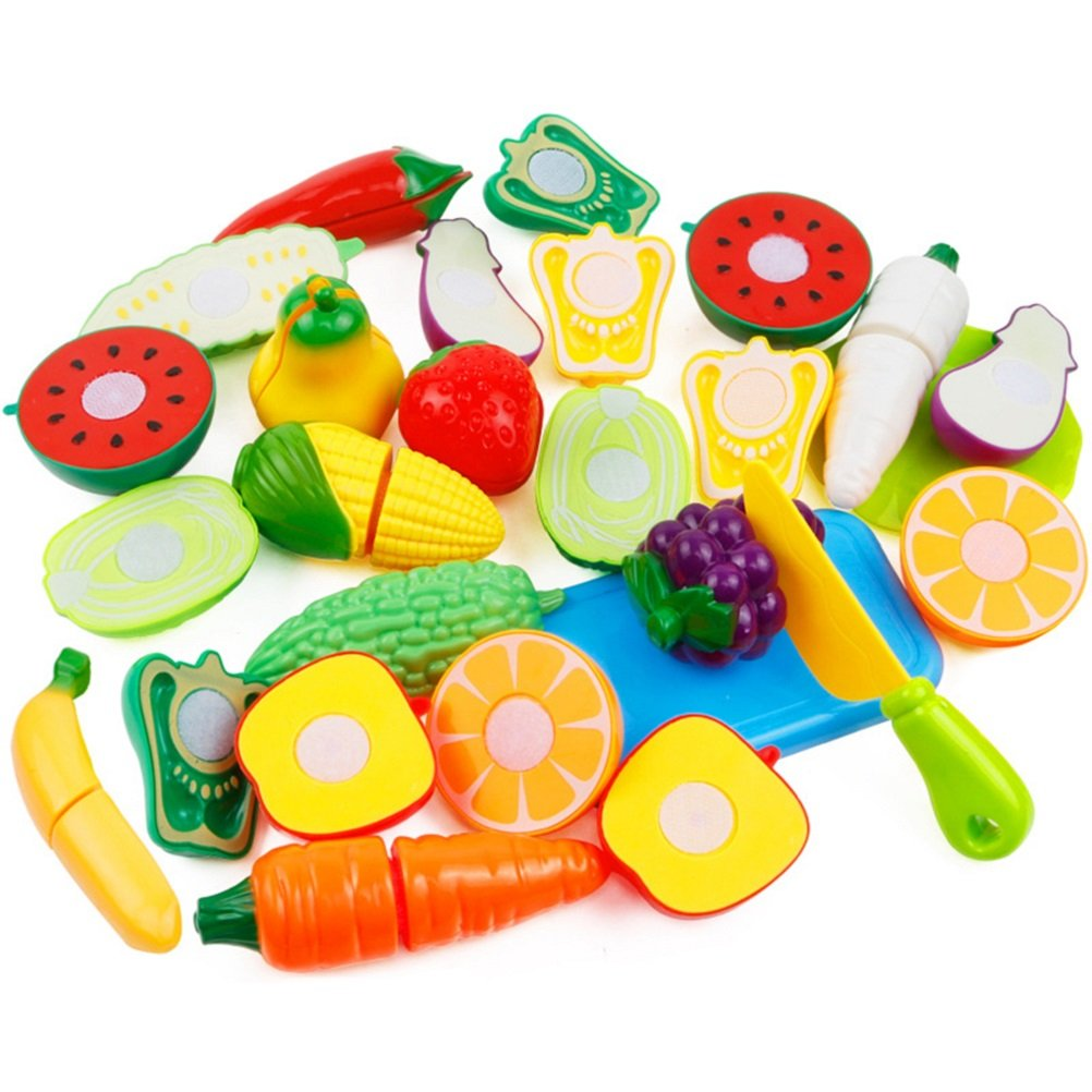 BabyPrice Cutting Play Fruits and Veggies Kitchen Toys Set Play Food Set for Kids with Knife Pretend Food Playset, Early Development and Educational Toy(12pcs veggie set)