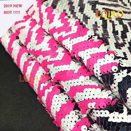 LQIAO Sequin Fabric Reversible Mermaid Zebra White Neon Pink Emboridery Flip Up Sequin Fabric by The Yard Sewing for Clothing Wedding/Evening Dress Hand Craft DIY