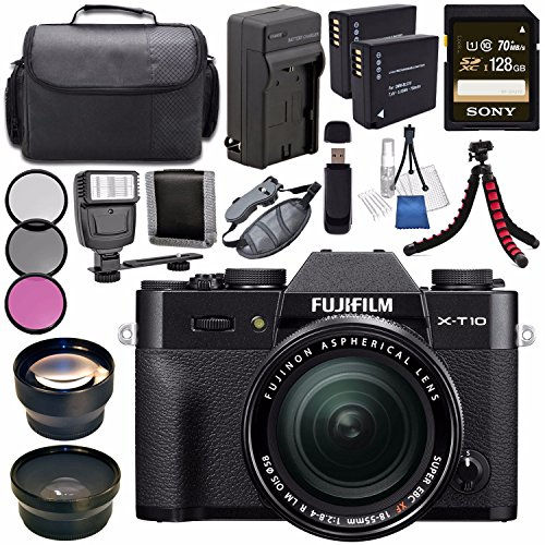 Fujifilm-X-T10-Mirrorless-Digital-Camera-with-18-55mm-Lens-Black-16471005-NP-W126-Lithium-Ion-Battery-External-Rapid-Charger-Sony-128GB-SDXC-Card-Carrying-Case-Tripod-Flash-Bundle