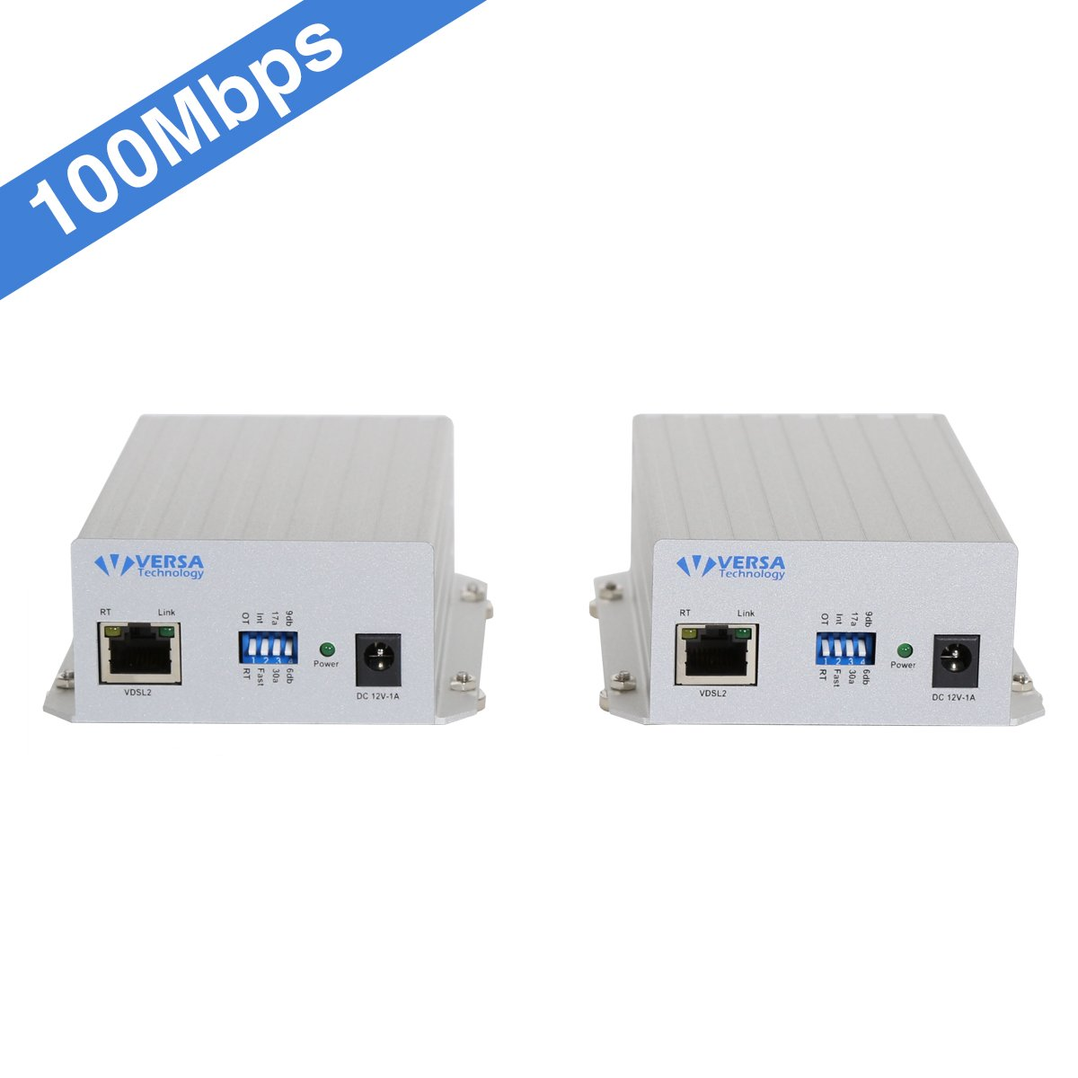 VX-VEB160G4 (V2) Ethernet Extender Kit (Pair 2pc) Range up to 1 Mile/7000FT Over Phone Copper Wire or CAT5/CAT6 Network Cable -VDSL2, Includes Power Supply