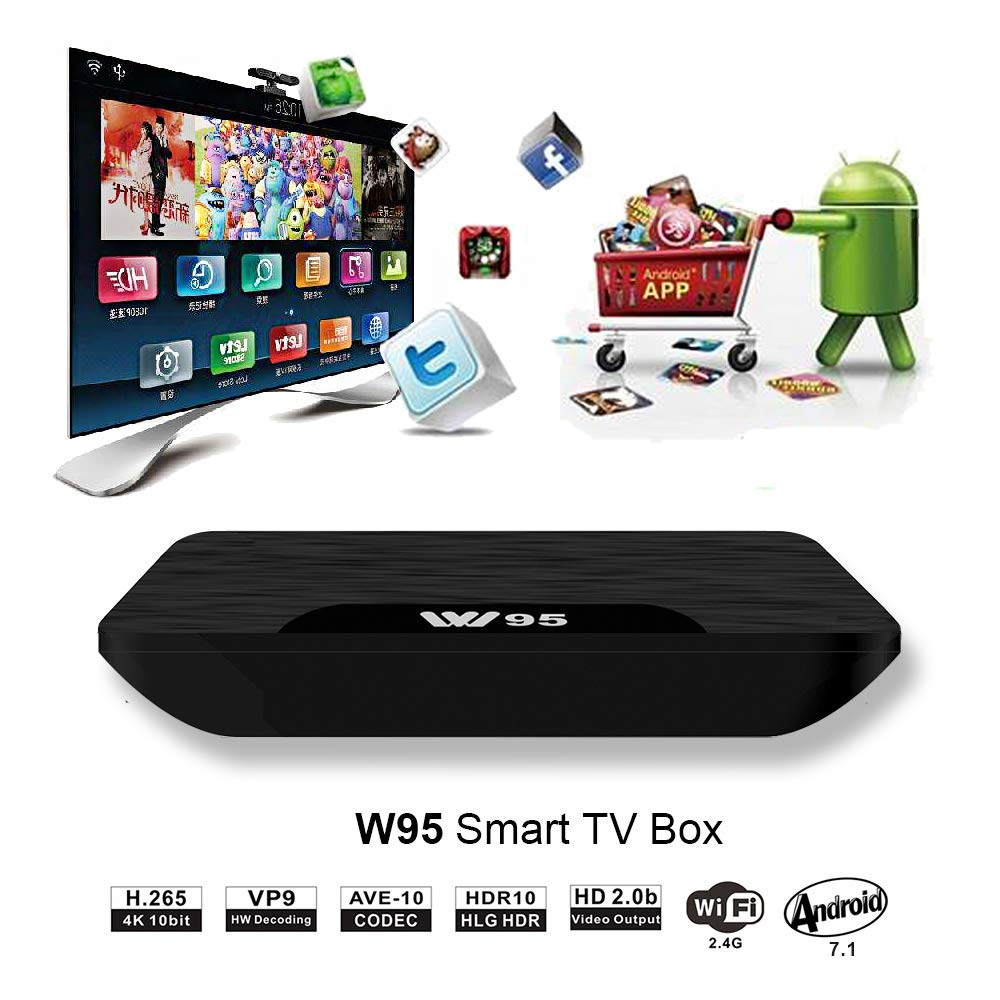 Android 7.1 Smart TV Box HDMI 4K UHD Web TV Box Wi-Fi Multifunctional Keyboard 1GB+8GB USB*2 Viden W95 New Generation Android TV Box with Amlogic S905X 64Bits Quad-Core