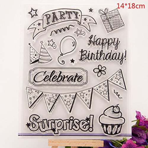 (Shoresu Happy Birthday Party Clear Stamps Sheets Transparent Silicone Seal for DIY Scrapbooking Craft Card Photo Album Decorative)