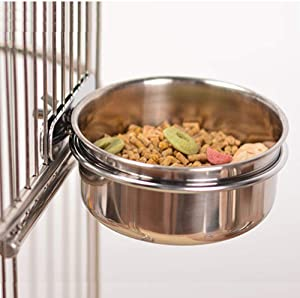 Old Tjikko Pet Feeder Water,10oz 20oz 30oz Bird Hamster Small Animal Cup with Holder,Stainless Steel 10oz Cage Coop Hook Cup for Small Animal Cage Bowl (10oz Stainless Steel Bowl)